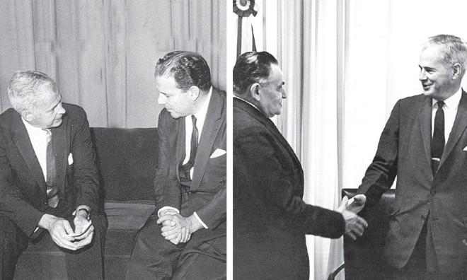 O embaixador dos EUA no Brasil em 1964, Lincoln Gordon, em dois momentos: encontrando-se com Jango, enquanto conspirava contra ele; e em audiência com Castelo Branco, o primeiro presidente da ditadura militar | Acervo UH/ Folhapress ; Arquivo/ Estadão Conteúdo