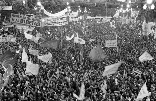 Manifestação da campanha Diretas Já em 1984: Congresso não aceitou que o povo votasse para presidente | Arquivo/ Folhapress