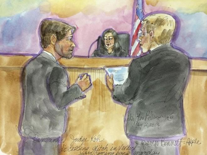 Ilustração com base em momento do julgamento mostra advogados da Apple e Samsung discutindo violação de patentes. | Vicki Behringer/Reuters.