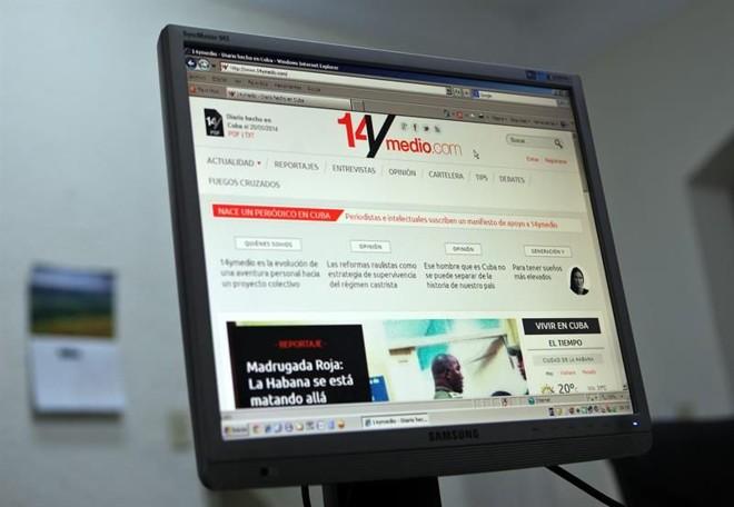 Página do jornal on-line independente 14ymedio, da blogueira cubana Yoani Sánchez, que foi bloqueado em Cuba | EFE / Alejandro Ernesto