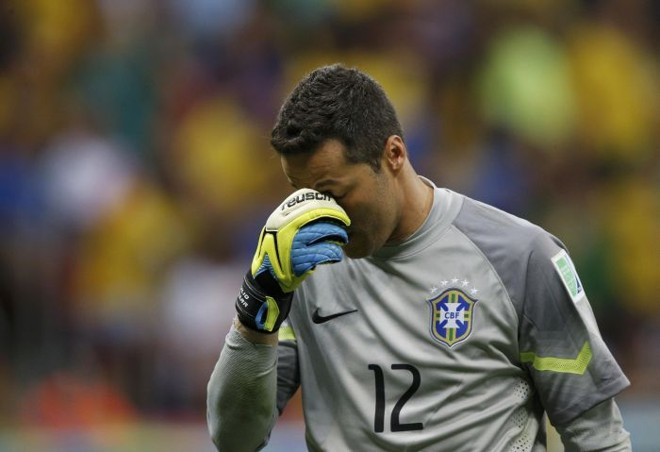 Júlio César lamentou entrar para a história do futebol brasileiro como o goleiro que mais sofreu gols em Mundiais | REUTERS / Ueslei Marcelino