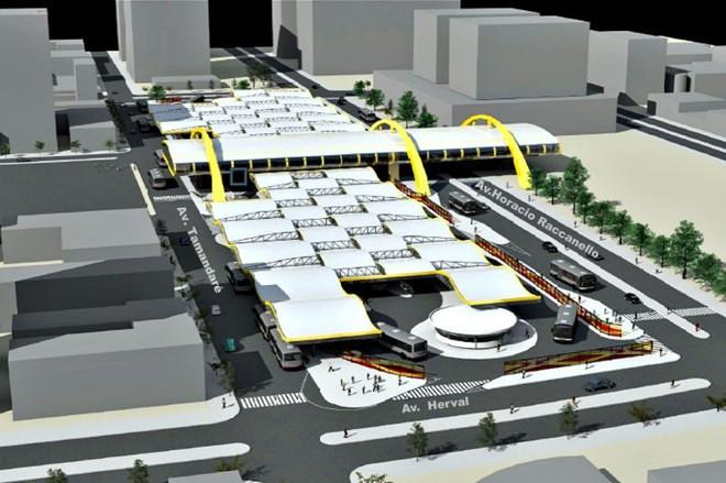Perspectiva da estrutura que ocupará o quadrilátero central da cidade, numa integração com o Trem-Pé-Vermelho | Prefeitura Maringa/Divulgacao