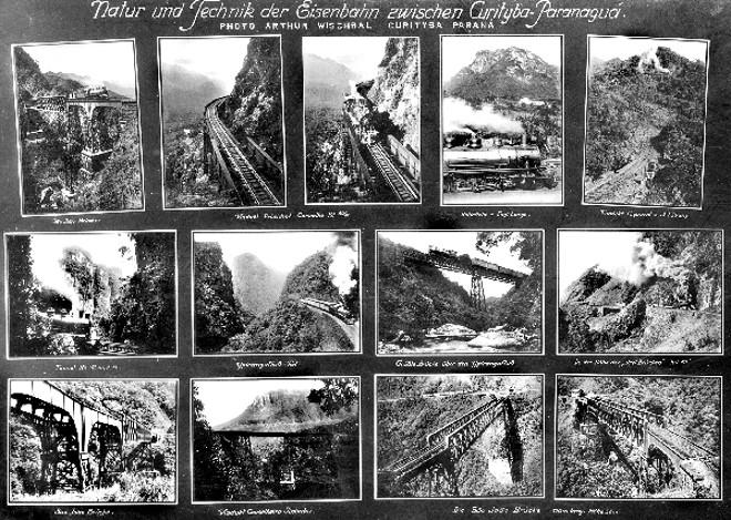 Coleção de fotos da Estrada de Ferro, na Serra do Mar, colocadas num único postal por Arthur Wischral | Acervo CID DESTEFANI