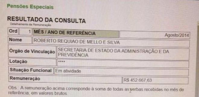 Reprodução do comprovante de repasse dos R$ 452 mil ao ex-governador Roberto Requião | Reprodução