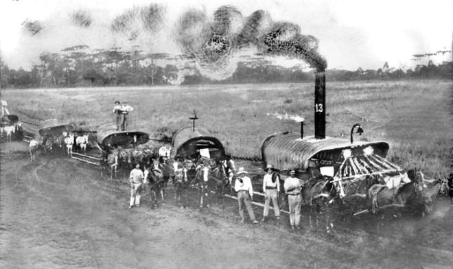 Charge sobre uma pretensa Estrada de Ferro de Guarapuava, feita em cima de uma fotografia de um comboio de carroções, na década de 1930 | Acervo Cid Destefani