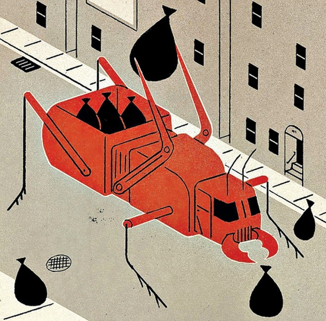 Em um ano, insetos podem retirar até 950 quilos de lixo comestível dos canteiros centrais de 150 quarteirões de Nova York | David Plunkert