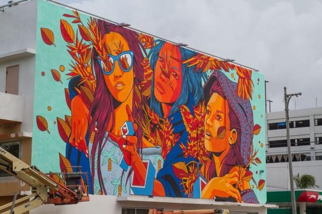 Mural do grupo brasileiro Bicicleta Sem Freio, em San Juan, Porto Rico   Bicicleta Sem Freio/ Divulgação