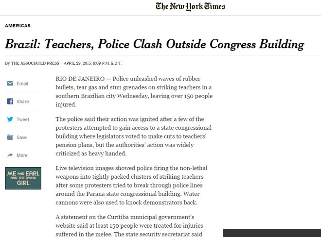 Violência policial contra professores foi destaque no New York Times | /