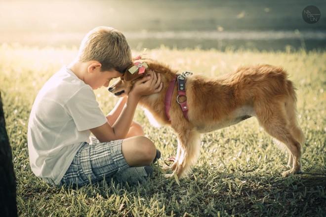 Os 20 ensaios produzidos retrataram a interação das crianças com seus animais de estimação. | Cristina Nadalin/Divulgação