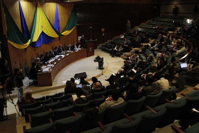 Nesta segunda, CPI é realizada no auditório da Justiça Federal, em Curitiba. | Jonathan Campos /Gazeta do Povo