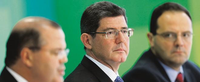 Alexandre Tombini (Banco Central), Joaquim Levy (Fazenda) e Nelson Barbosa (Planejamento): taxa básica de juros subiu de 11% para 13,75% em sete meses. | Ueslei Marcelino/Reuters
