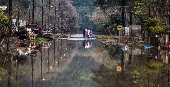 União da Vitória, no Sul do Paraná, em junho do ano passado: enchente provocou enormes prejuízos e provocou mortes na cidade | Brunno Covello/Agência de Notícias Gazeta do Povo