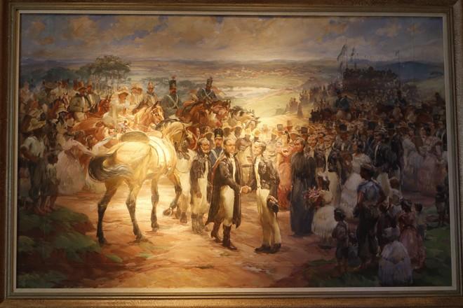 Quadro no Museu Paranaense mostra a reprodução da chegada do primeiro governador do estado   Marcelo Andrade/Gazeta do Povo