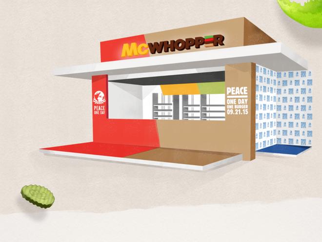 Loja especial proposta pelo Burger King para o Dia da Paz. | Divulgação