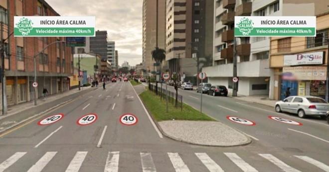 Sinalização alertando sobre a entrada na Área Calma será instalada nas próximas semanas. | SImulação/Prefeitura de Curitiba
