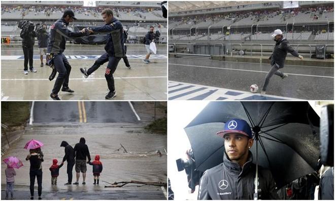 Com o circuito interditado pela chuva, teve de tudo em Austin: valsa na entrada dos boxes da Red Bull, bate bola de Nico Rosberg e Niki Lauda, passeio em família na pista e Hamilton se protegendo debaixo do guarda-chuva. | /