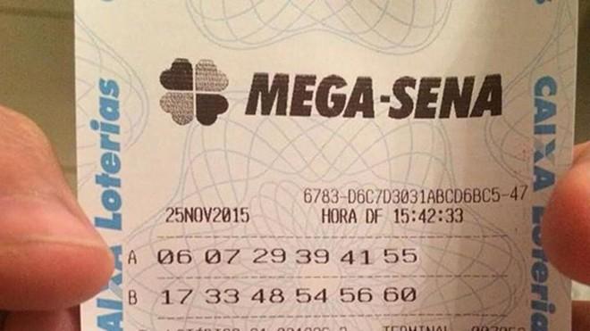 Imagem de suposto bilhete premiado em R$ 205 milhões pela Mega-Sena circula pela internet. | Reprodução/Facebook