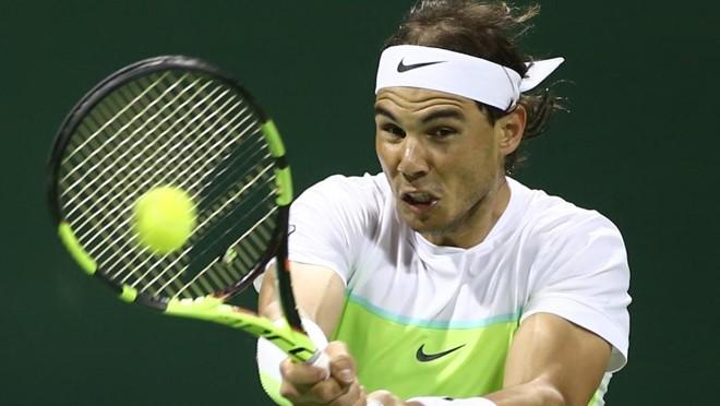 O espanhol Rafael Nadal derrotou o compatriota Pablo Carreño Busta no Torneio de Doha. | Karim Jaafar/AFP