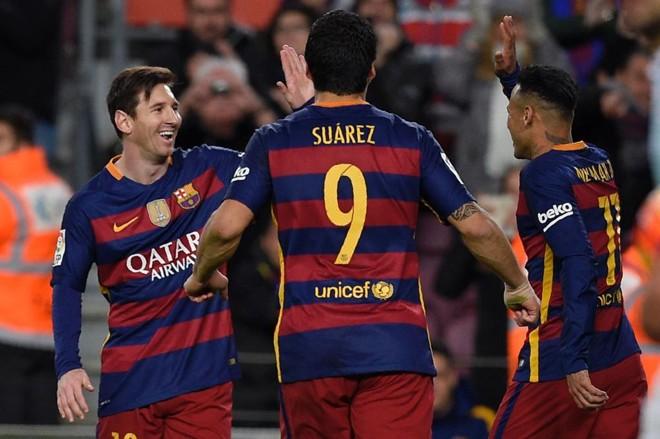 """Messi, Suárez e Neymar deram mais um show no Espanhol e golearam Celta de Vigo, com direito a """"gracinhas""""   LLUIS GENE/AFP"""