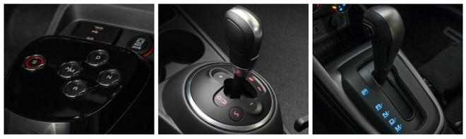 Da direita para a esquerda: os robotizados Dualogic Plus, da Fiat e I-Motion, da Volkswagen e o automático da  Chevrolet. | /