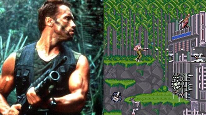 Arnold Schwarzenegger e o game  Contra: batalha na Selva | Reprodução/