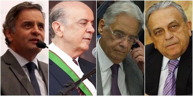 Aécio Neves, José Serra, Fernando Henrique Cardoso e Sérgio Guerra já foram citados durante a Lava Jato.   /