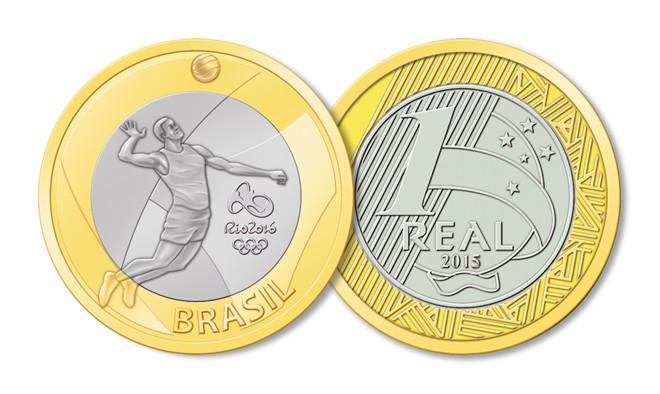 Modelo em circulação de moeda em homenagem à Rio-2016, | Banco Central/