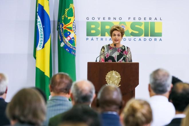 Dilma durante cerimônia de lançamento do eixo de desenvolvimento tecnológico, educação e pesquisa do Plano Nacional de Enfrentamento ao Aedes e à Microcefalia | Divulgação/Roberto Stuckert Filho/PR/