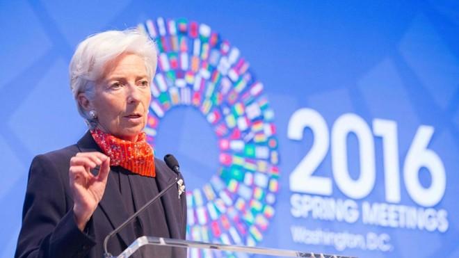 A diretora do FMI, Christine Lagarde: Fundo prevê piora para economia brasileira. | STEPHEN JAFFE/AFP