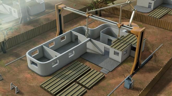 Impressora 3D se propõe a imprimir casas inteiras em 24 horas. | Divulgação/Contour Crafting
