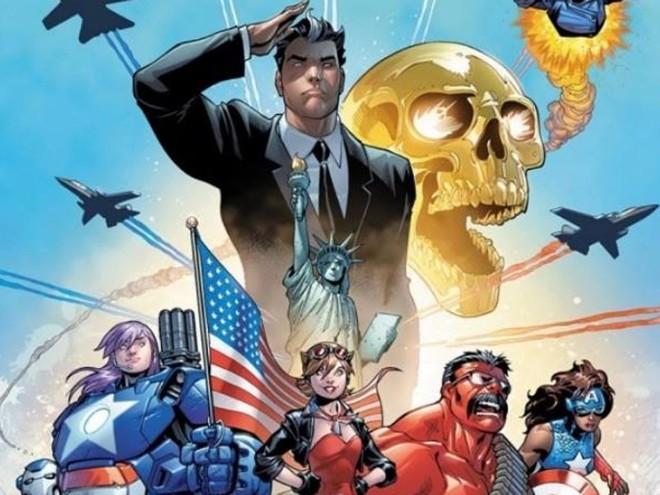 Roberto da Costa, o Mancha Solar, aparece no centro, de terno, como líder dos Vingadores Americanos | Marvel/Divulgação