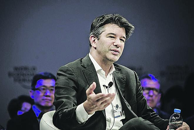 Travis Kalanick, CEOda Uber, em encontro do Fórum Econômico Mundial na Chine em junho de 2016. Na ocasião ele disse que o mercado chinês era o pivô das operações do app. Semana passada, porém, acenou com bandeira branca para a chinesa Didi. | Qilai Shen/Bloomberg