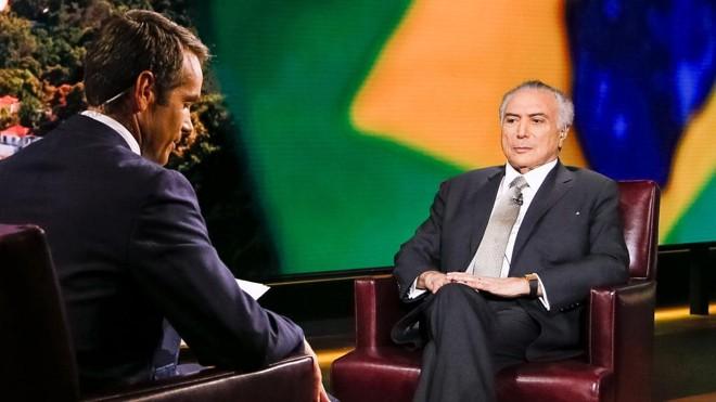 Michel Temer concedeu entrevista à TVBloomberg. | Beto Barata/PR