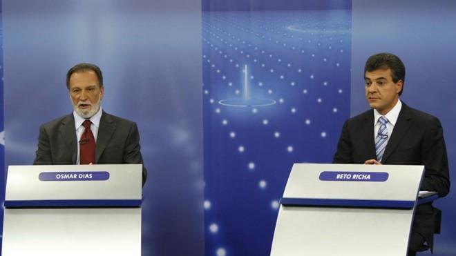 Osmar e Richa em debate para o governo em 2010. | Arquivo/Gazeta do Povo