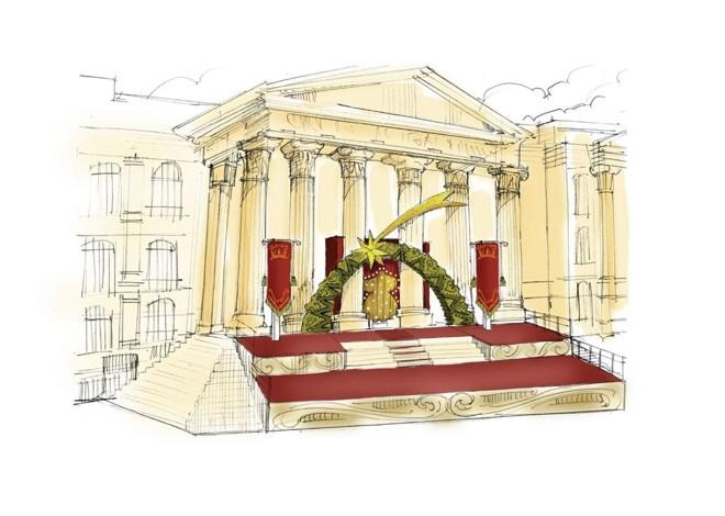 Fachada do prédio histórico da UFPR irá compor o cenário do espetáculo Natal de Curitiba na Praça Santos Andrade | Divulgação/NoAr Comunicação