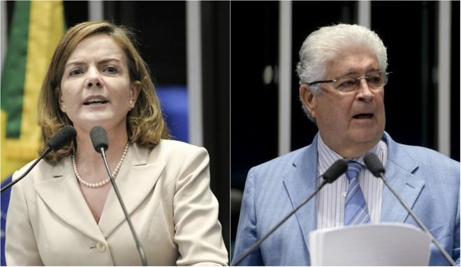 Gleisi Hoffmann (PT)e Roberto Requião (PMDB) | Pedro França e Jefferson Rudy/Agência Senado