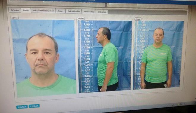 Sérgio Cabral, na indumentária de preso do estado do Rio | Seap/DIVULGAÇÃO/ESTADÃO CONTEÚDO