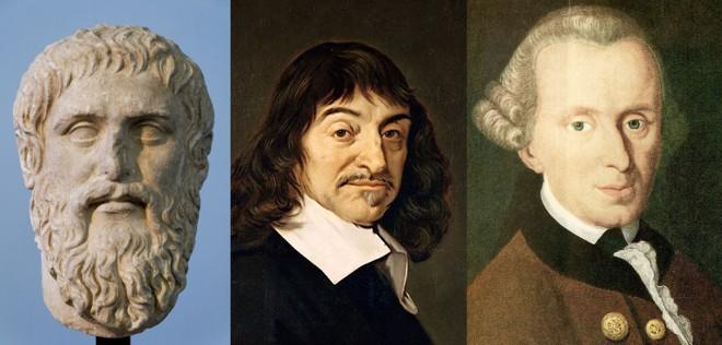 Os filósofos Platão, Descartes e Kant: pensadores responsáveis por ideias que sustentam a sociedade atual | Reprodução/Wikipedia