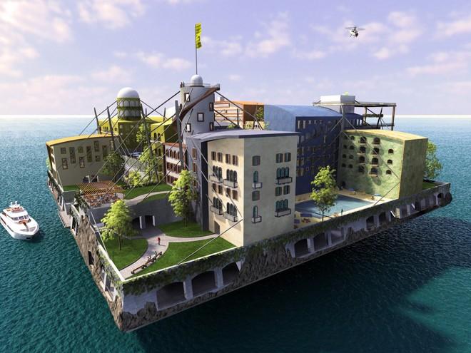Cidades flutuantes podem ser a solução para o aumento do nível do mar. Na foto, um dos projetos do Seasteading Institute para cidades flutuantes. | Seasteading Institute/Reprodução/