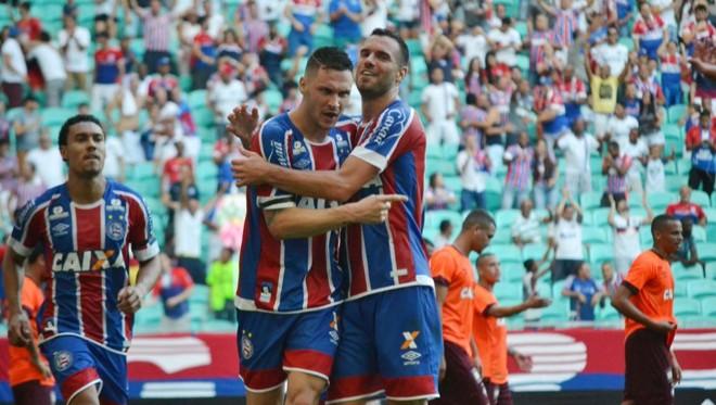 Bahia fez cinco gols ainda no primeiro tempo contra o Atlético. | ROMILDO DE JESUS/ESTADÃO CONTEÚDO