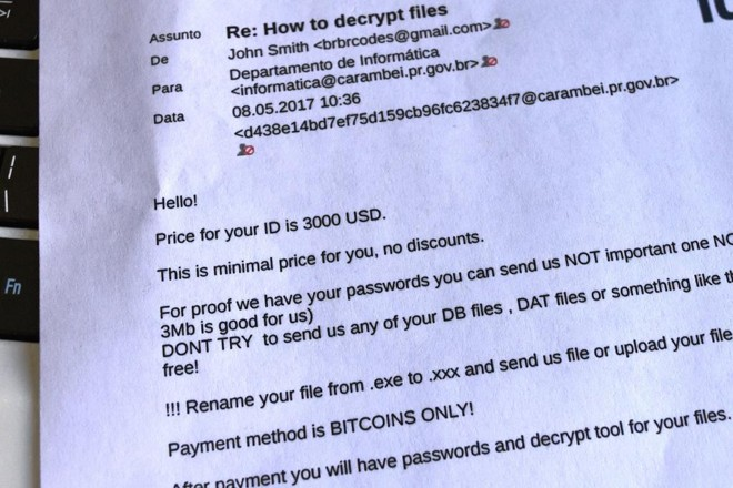 Arquivos invadidos foram criptografados e renomeados com um endereço de email. Ao entrar em contato, a prefeitura recebeu o pedido de resgate, em inglês. | /Divulgação