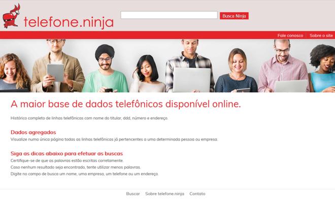 Site telefone.ninja divulga dados pessoais como endereço e telefones |