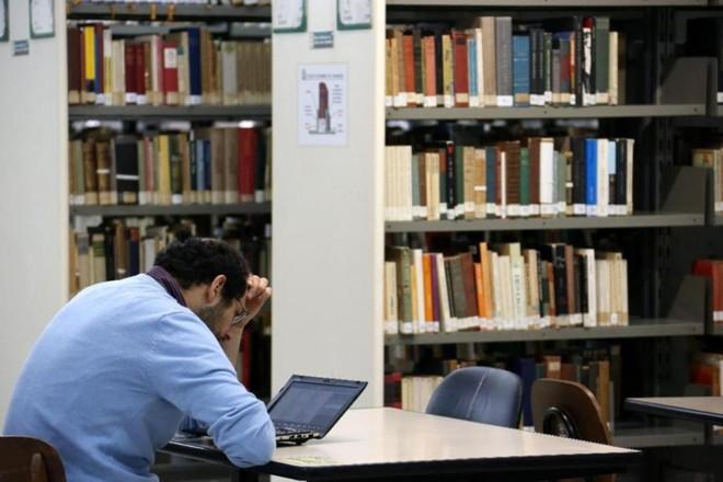 Biblioteca da FFLCH, na USP: autores de esquerda em primeiro plano. | Cecilia Bastos Jornal da USP