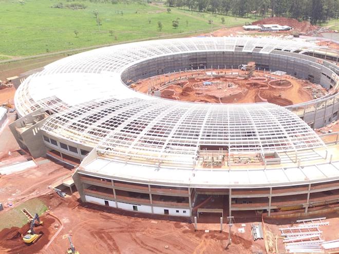Construção do Sirius, em agosto de 2016   CNPEM/Divulgação