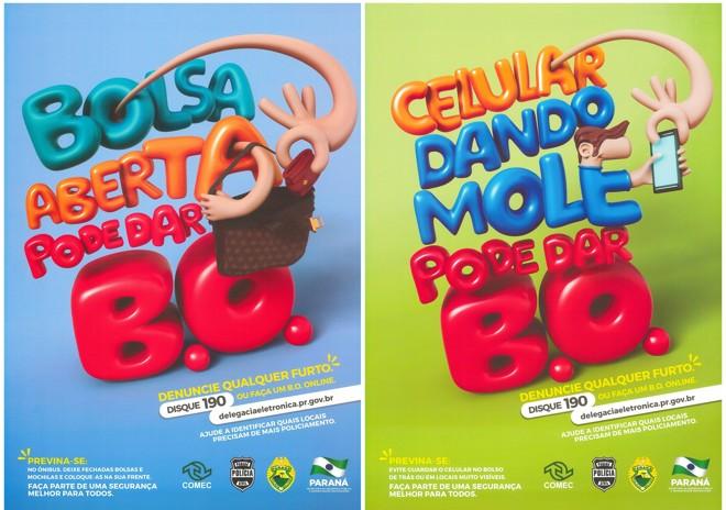 Cartazes  sobre a importância do BO  serão espalhados por ônibus da região metropolitana. | Divulgação/Governo do Paraná