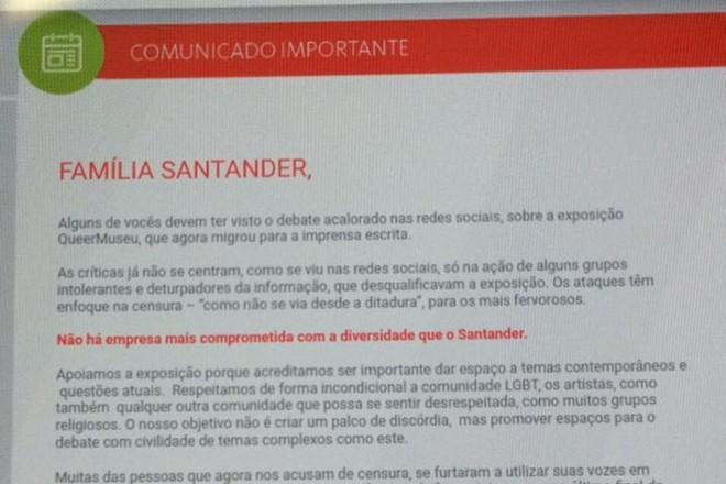 Detalhe do comunicado escrito por Sérgio Rial, presidente do Santander Brasil, aos funcionários do banco | Reprodução