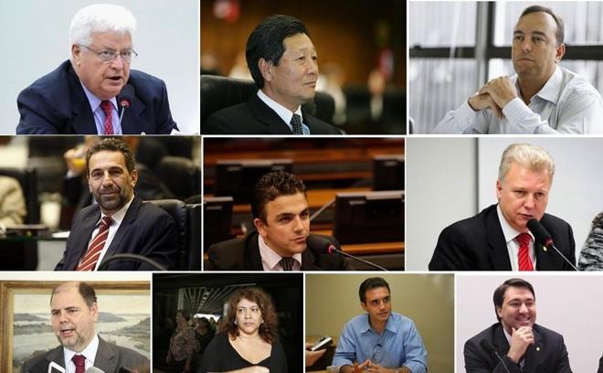 Os deputados que mais gastaram: Meurer, Nishimori, Francischini, Verri, Aliel, Edmar Arruda, Canziani, Christiane Yared, Bertoldi e Giacobo.   /