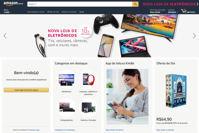 Capa da Amazon do Brasil após a entrada dos produtos eletrônicos   Reprodução/Site/Amazon