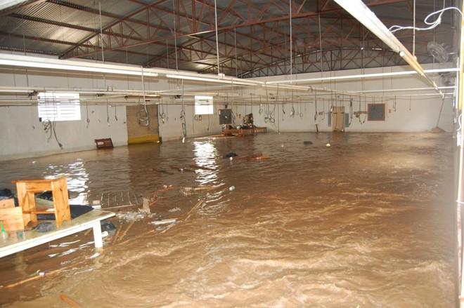 Foto mostra um galpão alagado durante a enchente de 2010 em Tomazina, no Norte Pioneiro doParaná | Felipe Peres/Gazeta do Povo/Arquivo