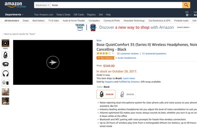 Página de produto na Amazon com vídeo em destaque | Amazon/Reprodução